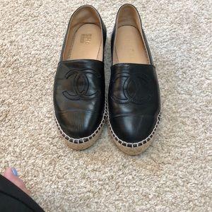 Black Chanel espadrilles. Lambskin leather.